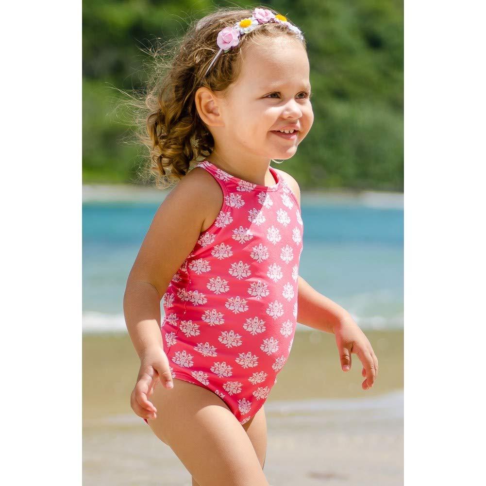 Sun Emporium Little Girls Coral Daisy Damask Halter One Piece Swimsuit 2-6