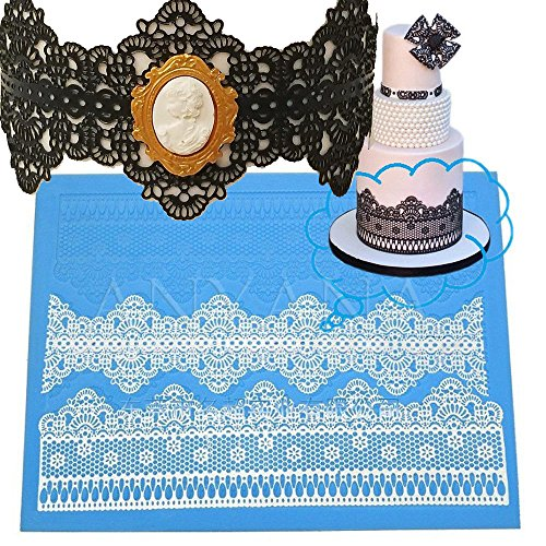 Veil Sugar - Anyana sugar edible flower wedding lace cake silicone Embossing Mat Texture fondant impression lace mat decorating mold gum paste cupcake topper tool icing candy imprint baking moulds sugarcraft