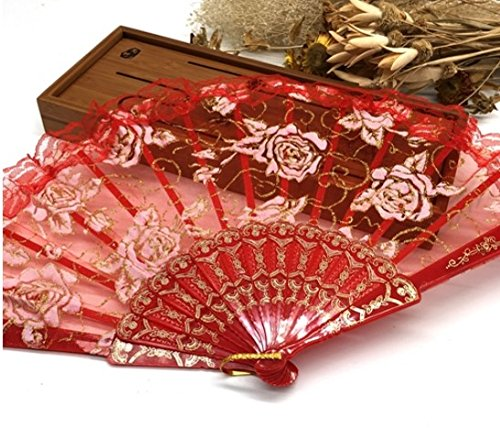 Red Lace Rose Flower Embroidered Lace Fan Lace Hand Held Fans Tulle Folding Fans Dancing Props by Hand Fan