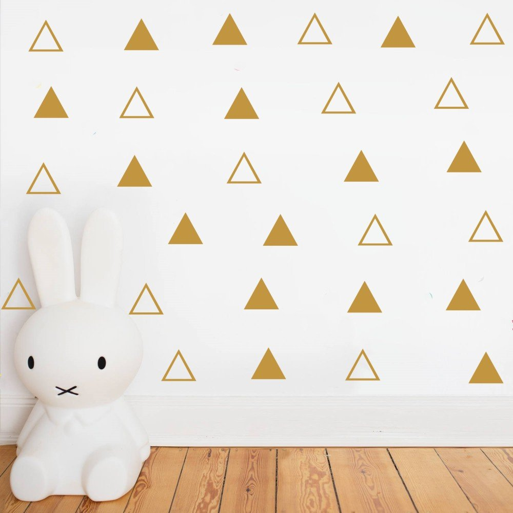 Mordern Two Different Pattern Triangles Wall Stickers -Home Decoration Removable Art Vinyl Wall Decal For Kids Nursery Room Decor-Bedroom Dorm Wall Decoration (Gold) YOYOYU ART HOME DECOR