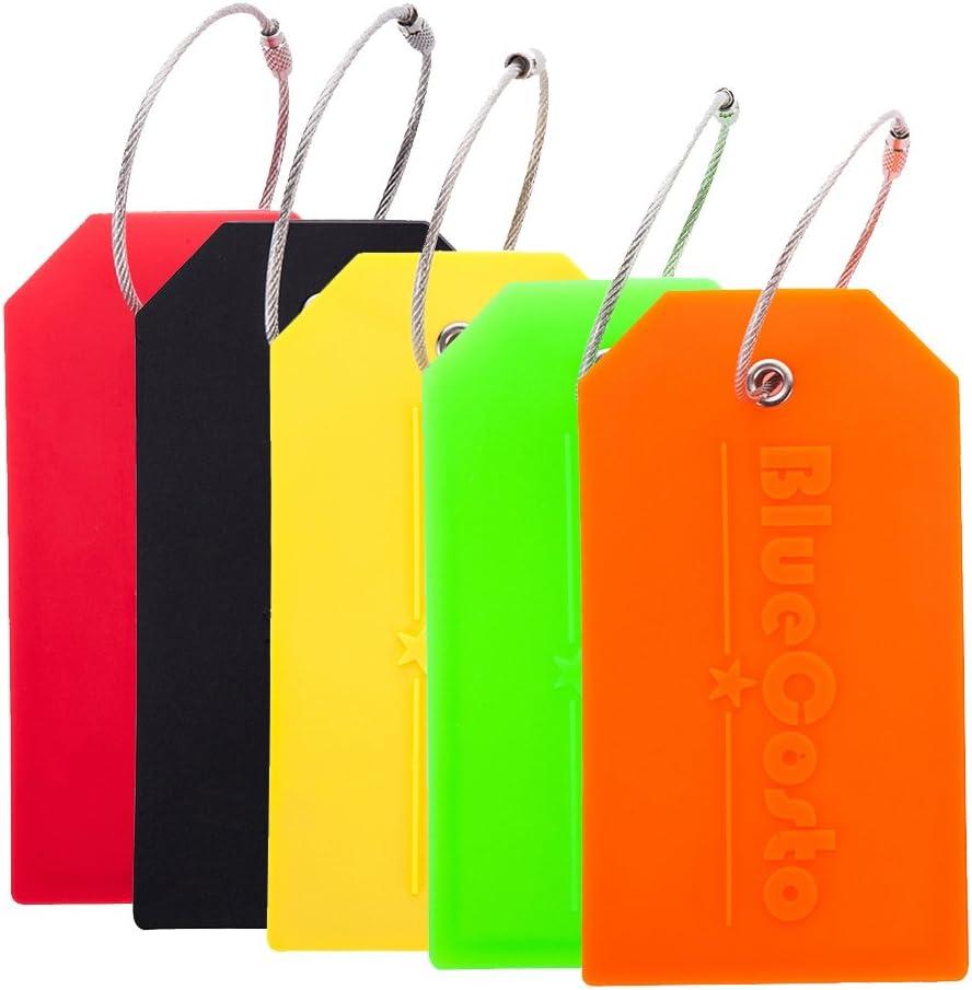BlueCosto 5X Colores Etiquetas para Equipaje Etiqueta para Dirección de Maleta Luggage Tags w/Privacidad Cubierta