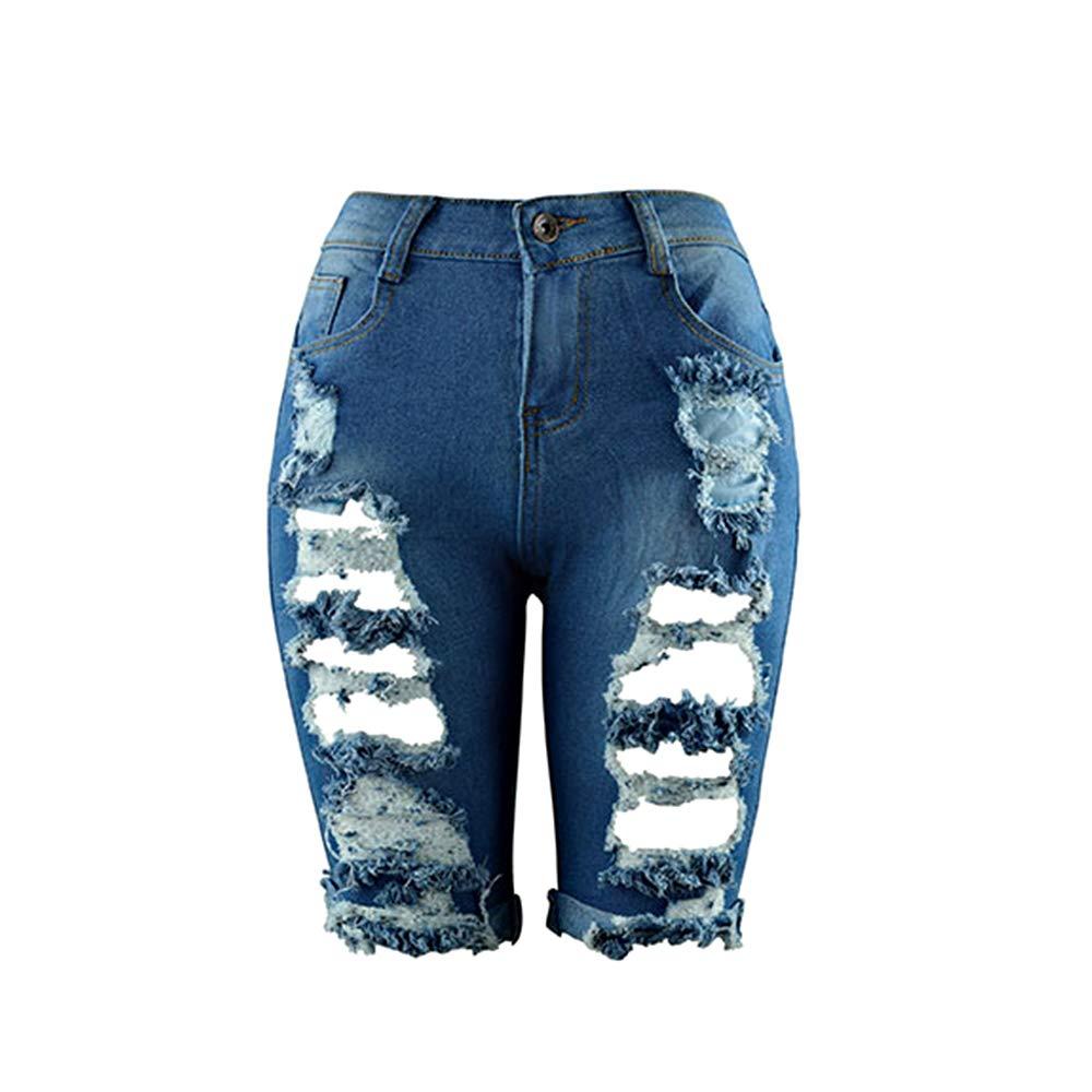 el/ástico Cortados Hopin Pantalones Vaqueros Desgastados Desgastados Denim Desgastados hasta la Rodilla Pantalones Cortos de Cintura Alta