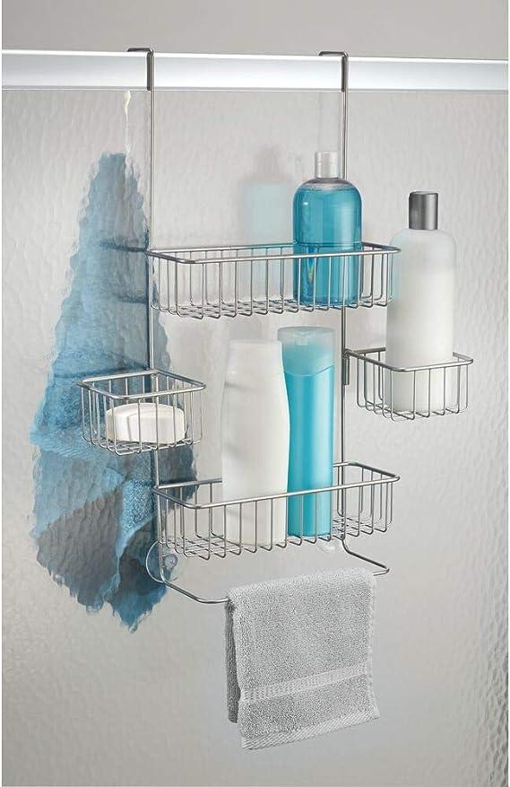 mDesign Estantería ducha sin taladro – Para encima de la puerta ...