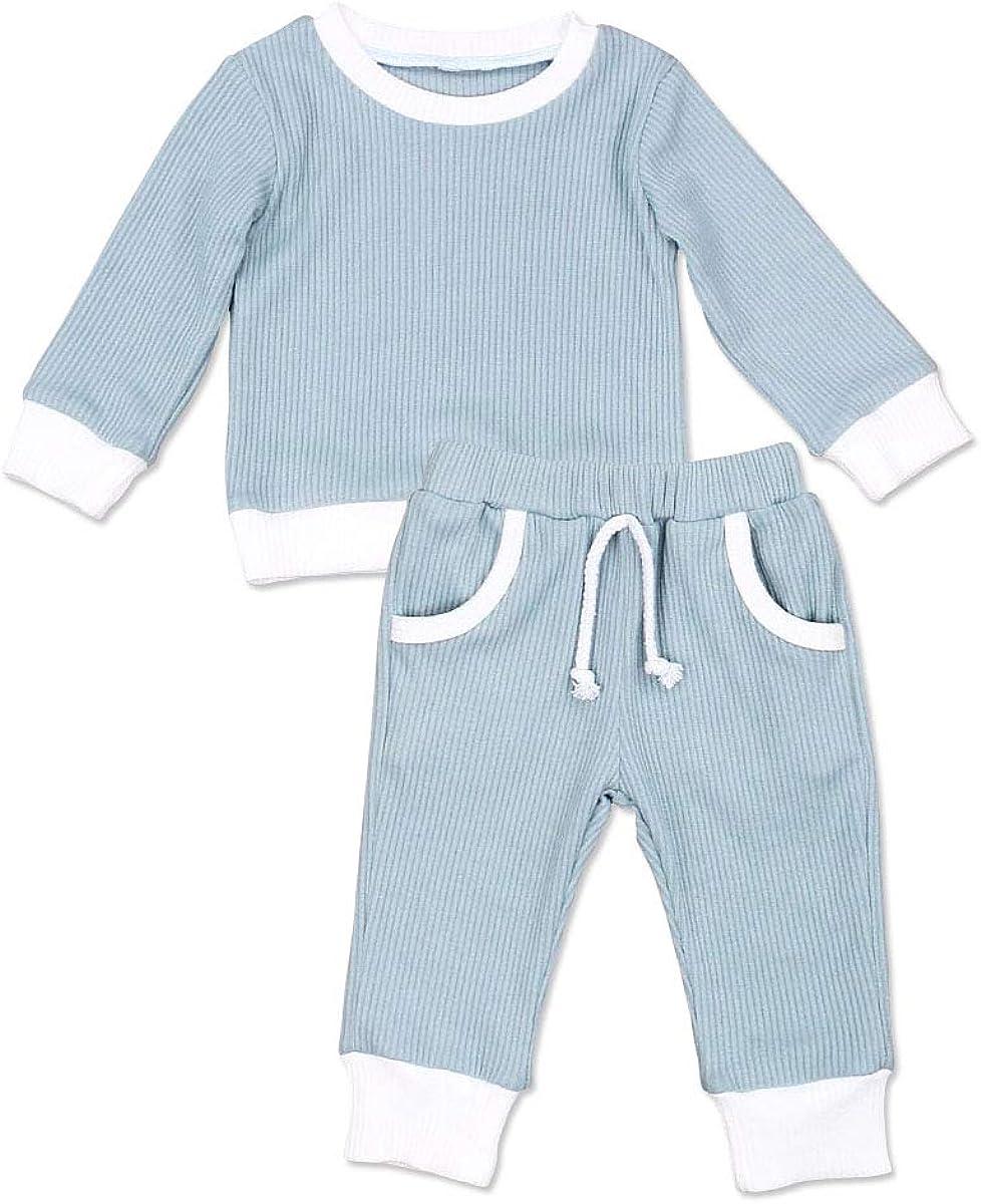 Toddler Baby Boys Girls Ribbed Outfits Knit Cotton Long Sleeve Tops & Pants  8Pcs Pajamas Clothes Set