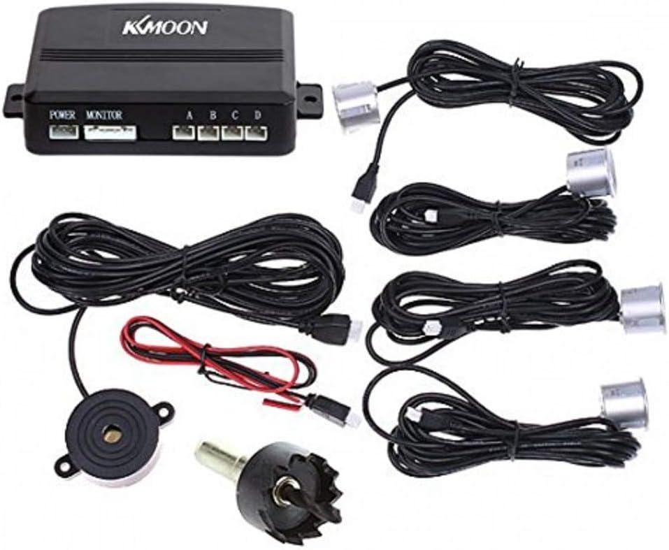 KKmoon Alerta de sonido de radar de respaldo inverso para estacionamiento de automóviles con 4 sensores Plata