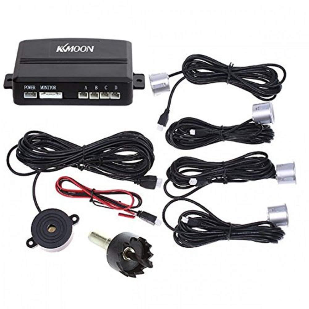 KKmoon Car Parking Reverse Backup Radar Sound Alert Black 4 Sensors; Parking Reversing Sensor Kit System
