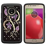 Berry Accessory Moto E4 Case (U.S. Edition),Moto E4 Luxury Glitter Sparkle Bling Case,Studded Rhinestone Crystal Hybrid Dual Layer Armor Case for Moto E4/Moto E (4th Generation) Floral Purple Flower