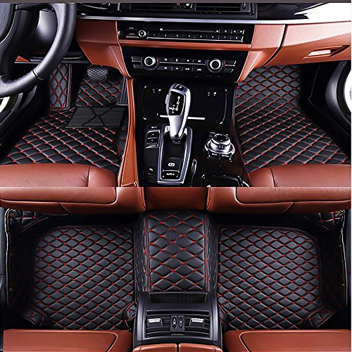 VENMAT Car Floor Mats Custom Made for Alfa Romeo Stelvio 2017-2019 Foot Carpets Faux Leather All Weather Waterproof 3D Full Surrounded Anti Slip Mat (Black with Red Stitch)