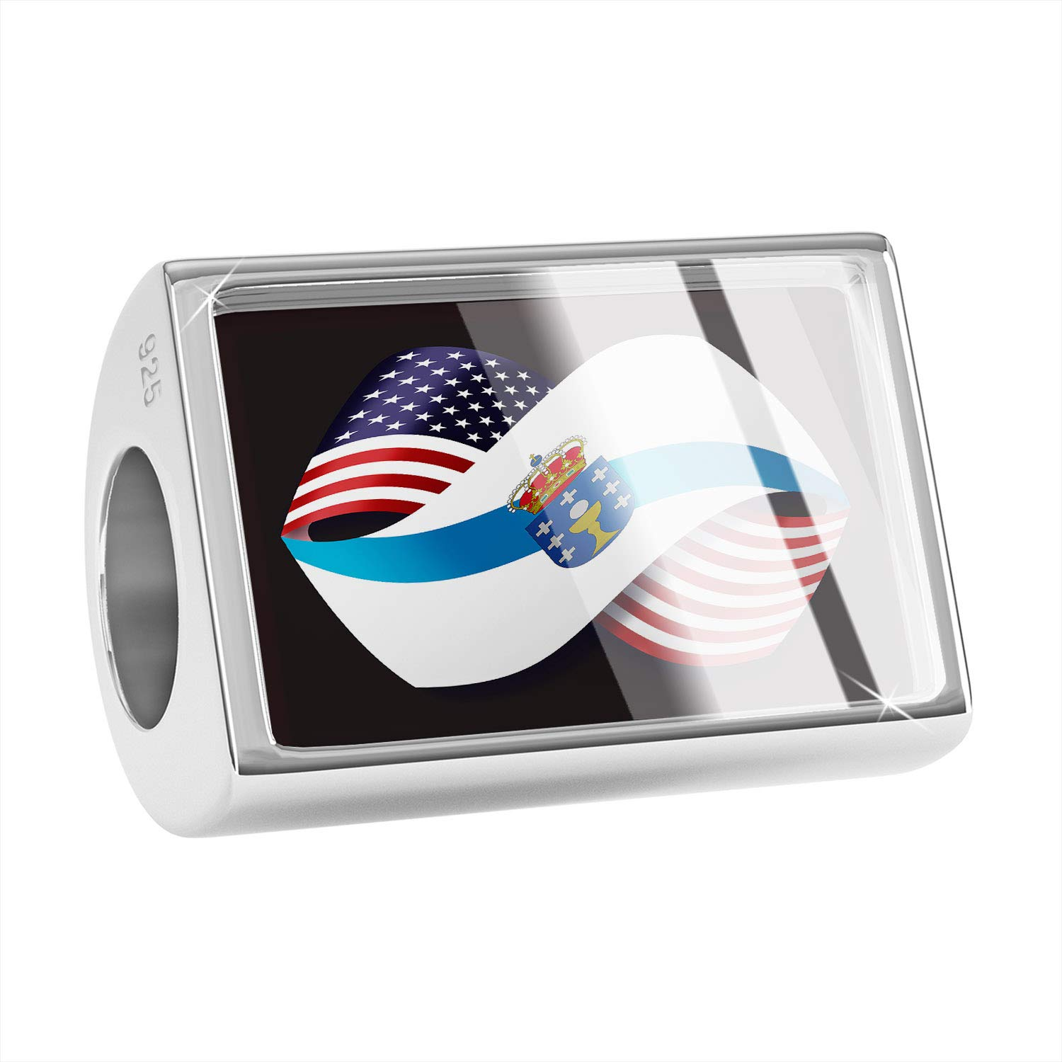NEONBLOND Custom Charm Friendship Flags USA and Galicia Region Spain 925 Sterling Silver Bead