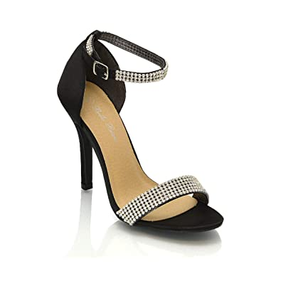 928ad457a ESSEX GLAM NEW LADIES STILETTO ANKLE STRAP DIAMANTE WOMENS PARTY HIGH HEEL  BRIDAL STRAPPY SANDALS SHOES