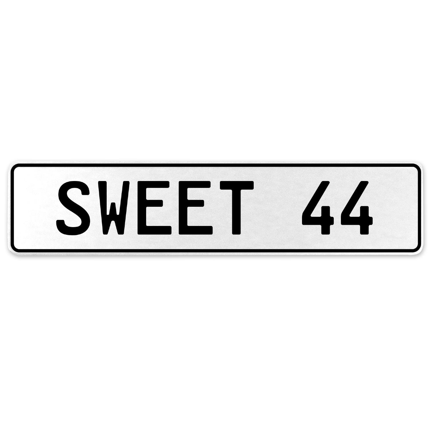 Vintage Parts 554146 Sweet 44 White Stamped Aluminum European License Plate
