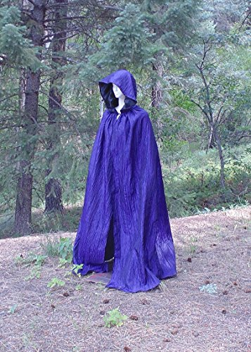 Purple Hooded Cloak Goth Halloween Vampire Costume Cape