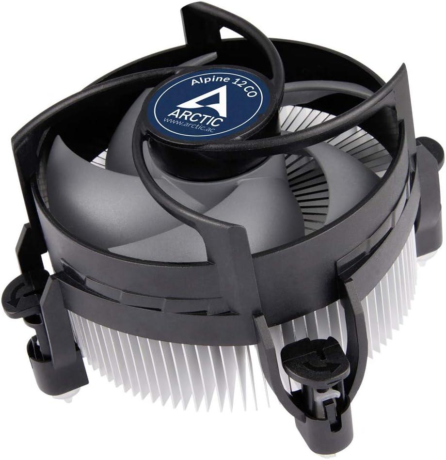 ARCTIC Alpine 12 CO - Enfriador de CPU para Intel, Funcionamiento Continuo, Ventilador PWM de 92 mm, Potencia de Enfriamiento de hasta 100 W, con Compuesto Térmico MX-2 Pre-aplicado, Fácil Instalación