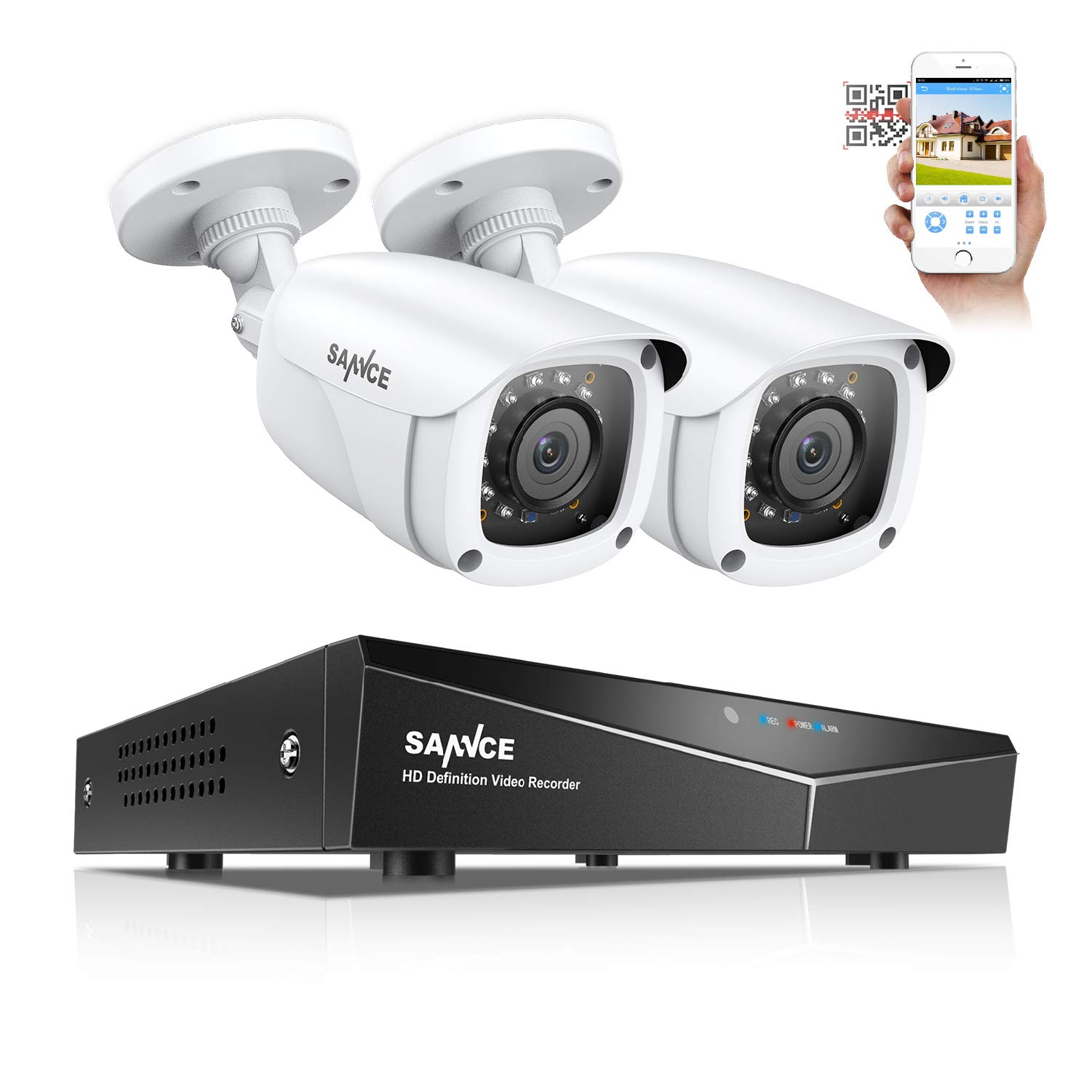 SANNCE Security Camera Systems 4CH 1080N DVR and (2) 1080P Weatherproof CCTV Bullet Cameras, Indoor/Outdoor Weatherproof Cameras with IR Night Vision LEDs- NO HDD by SANNCE