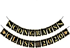Congrats Class of 2020, Graduation Party Supplies 2020 - No DIY Required | Classy Graduation Banner for Graduations Decorations | Grad Party Decor, Seniors High School or Prom | Black and Gold, Large