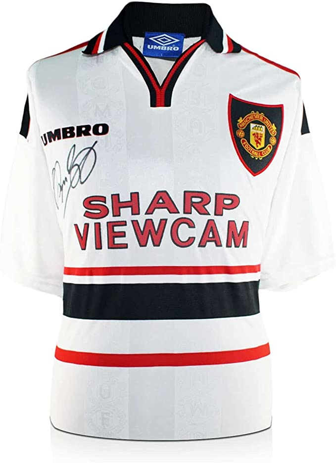 Ryan Giggs Firmado 1999 Manchester United lejos camiseta blanca ...