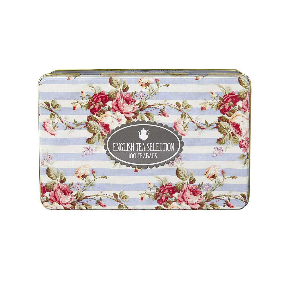 Vintage Floral Tea Tin with 100 Assorted English Black Tea Teabags