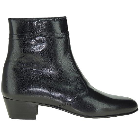 Moya 50 Bota Corta de Piel Caprina Cremallera y Tacón Cubano de 4,3 CM para Hombre: Amazon.es: Zapatos y complementos
