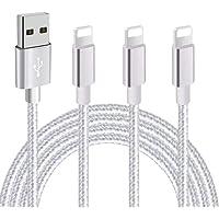 iPhone 充電ケーブル【3本セット 1m+2m+3m】ライトニングケーブル USB lightningケーブル アイフォン 急速充電 データ同期 耐久 アイフォン充電ケーブル iPhone XS/XS Max/XR/X/8/8Plus/7/7 Plus/6s/6s Plus//iPad/iPod各種対応 (銀)
