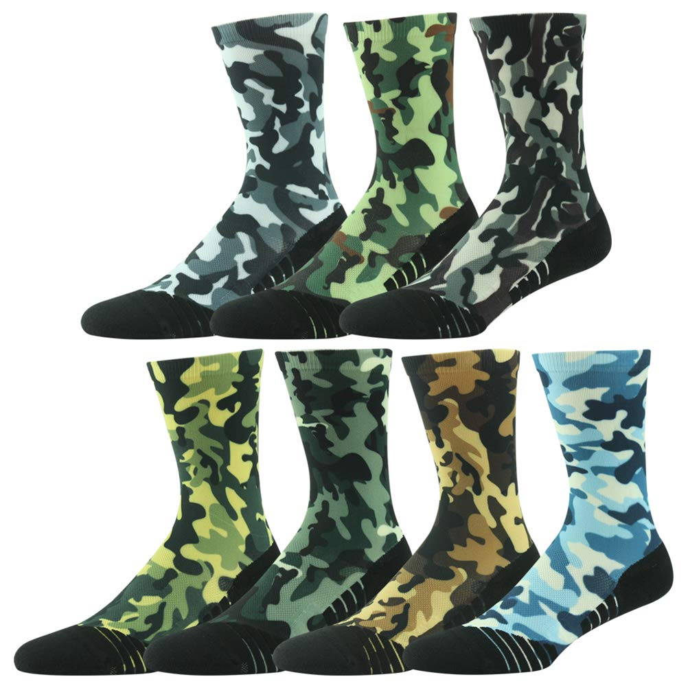Hiking Socks Men HUSO Colorful Quick Wicking Cotton Socks for Outdoor Camping Backpacking Sports 7 Pairs (Multicolor, L/XL)