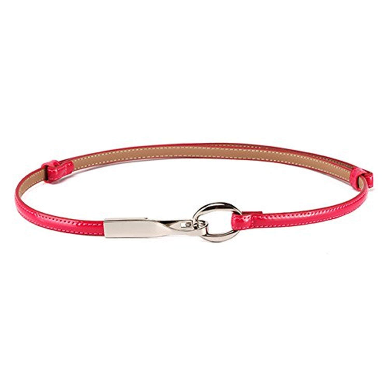 Beautface Makeup Fashion Skinny Belts Cowskin Leather Slim Belt for Wedding Dress Colorful Skirt Belts,OneSize,RoseRed