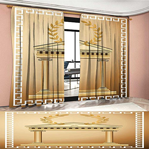 Olive Branch Brown Glass (LedfordDecor Toga Party Patterned Drape For Glass Door Antique Temple with Roman Olive Branch and Greek Architecture Motif Waterproof Window Curtain Light Brown and Coffee)