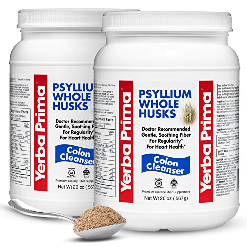(Yerba Prima Psyllium Whole Husks Colon Cleanser – All Natural, Dietary Fiber Supplement for Improved Bowel Regularity, Heart Health & Weight Loss Management – 2 Pack of 20 Onces (Total of 40 Onces))