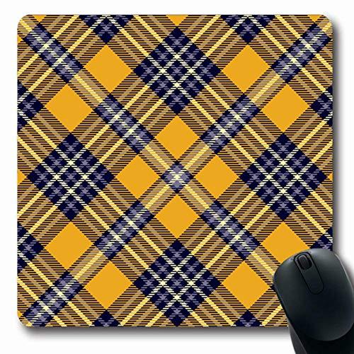 Check Sash - Ahawoso Mousepad Oblong 7.9x9.8 Inches Blue Flannel Tartan Plaid Pattern Sash Orange Check Checkered Gingham Scottish Stripes Design Cozy Office Computer Laptop Notebook Mouse Pad,Non-Slip Rubber