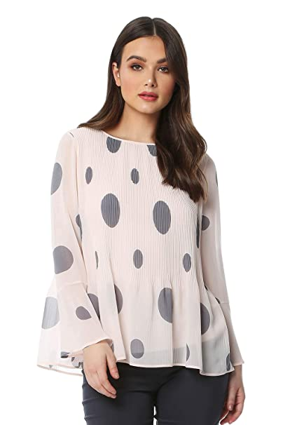 3239e9a757f7d0 Roman Originals Women Spot Print Pleated Top - Ladies Going Out Evening  Party Special Occasion Casual Everyday Workwear Office Work Event Flared  Sleeve ...
