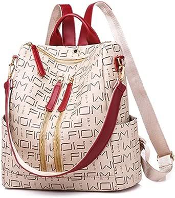 حقيبة ظهر نسائية بتصميم بسيط كاجوال مطبوع عليها حرف - حقيبة ظهر عصرية - نمط رياضي