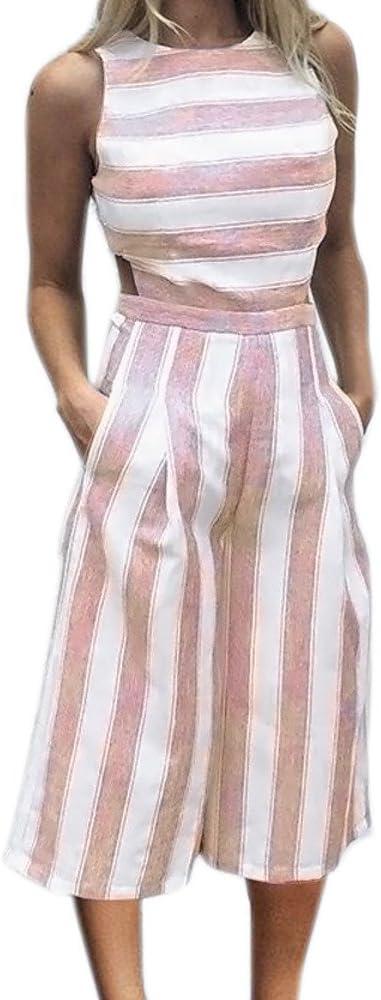 Mujeres Monos Sin Mangas ❤️Lonshell Jumpsuit Rayas o-Cuello de Amplia Pierna Elegante Traje Pantalones Largo Verano de Playa Clubwear Mameluco Ropa