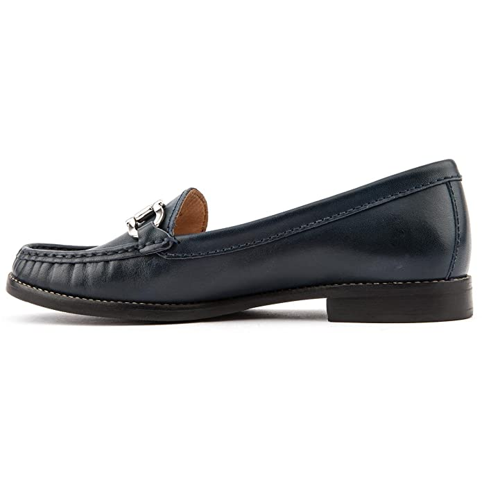 6c38ad04032 Ladies Jones Bootmaker Glasgow Navy Leather Loafers Size 9  Amazon.co.uk   Shoes   Bags