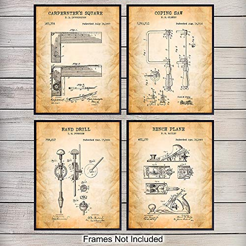 Woodworking Tools Patent Art Prints - Vintage Wall Art Poster Set - Chic Rustic Home Decor for Den, Rec, Game or Family Room, Office, Garage, Man Cave - Gift for Carpenter, Craftsman, 8x10 Photo