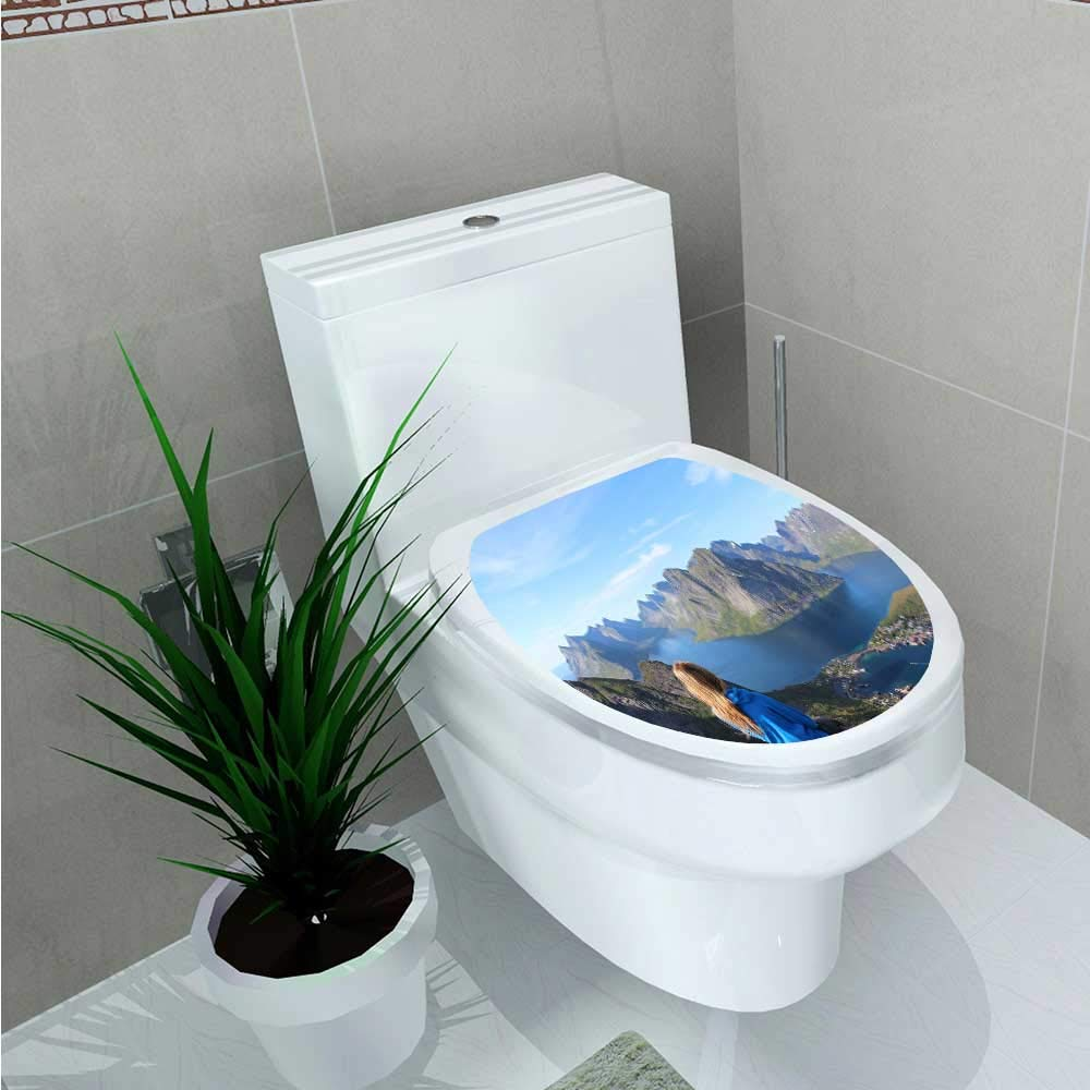 Jiahonghome デカール ウォールアート 装飾 太陽の屋外活動 バスルーム クリエイティブ トイレ カバー ステッカー 幅15.24x長さ20.3cm W13