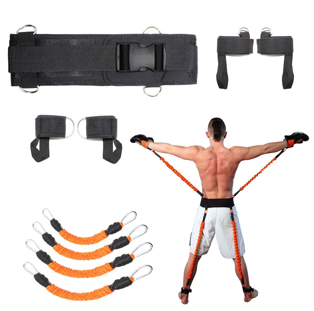 Sunsign 9-pcs Resistance Band Exercises Set for Arms and Legs Train Band Workout for Physical Therapy and Basketball Kick Boxing Training Stackable Up to 160lb