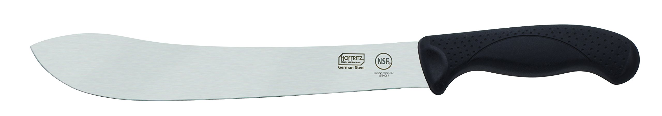 Hoffritz 5190085 Commercial Top Rated German Steel Butcher Knife with Non-Slip Handle for Home and Professional Use, 10'', Black
