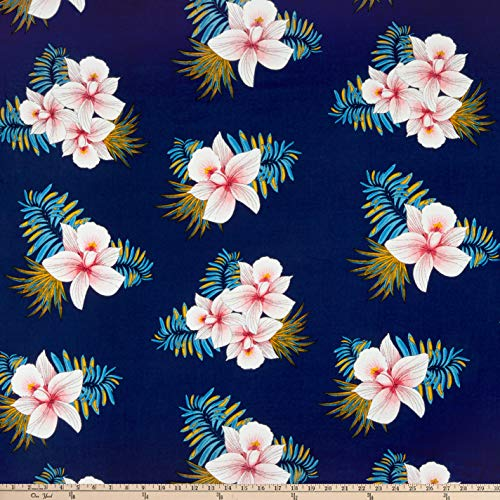 (Fabric Rayon Challis Tropical Floral Navy/Pink Fabric by the Yard)