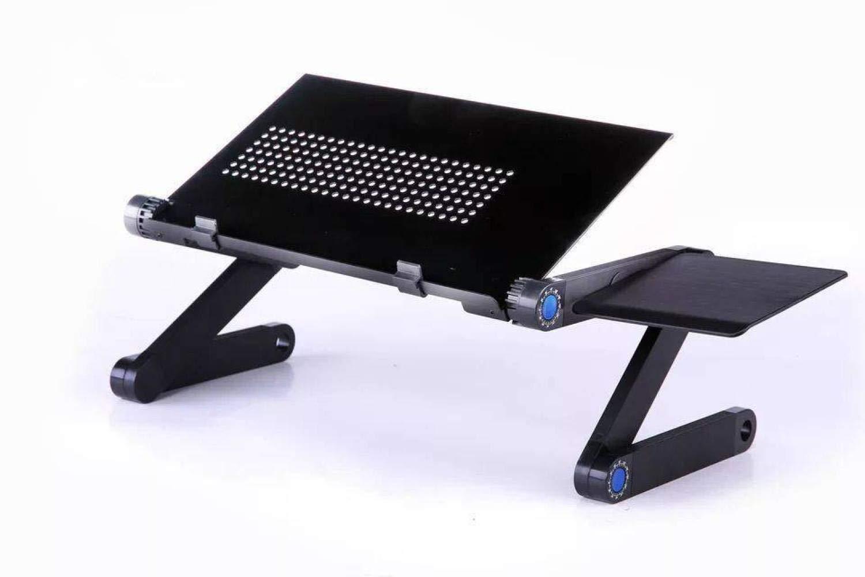 ZHEDGSL Cooling Laptop Desk/Bed Computer Desk/iPad Desk/Lazy Aluminum Folding Table,Black,A