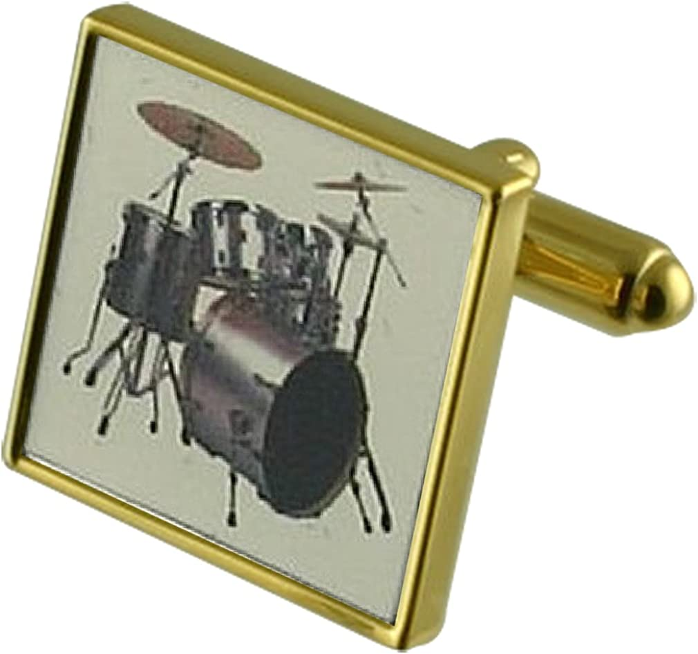 Select Gifts Music Drum Kit Gold-tone Square Cufflinks with Pouch