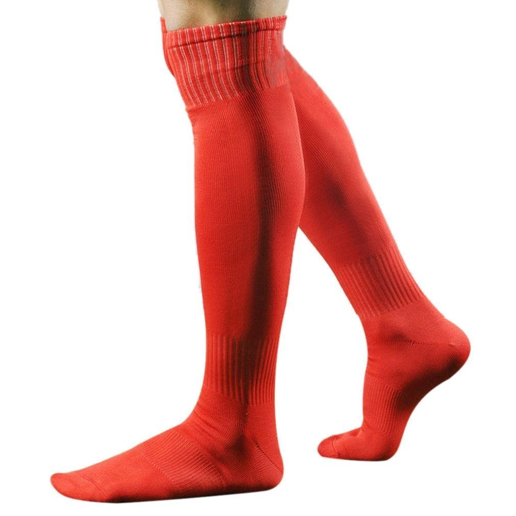 PolytreeメンズSport Football Soccerロングソックスover knee high sock野球Hockey B01H5734PS レッド レッド