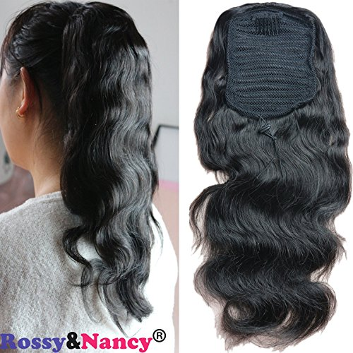 Rossy&Nancy Hair Piece Ponytail Extensions Body Wave Natural Black Colors with clips for Women 12-24inch