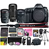 Canon EOS 5D Mark IV Digital SLR Camera Multi-Lens Kit with Camera Body, EF 16-35mm f/4L IS USM Lens, EF 24-105mm f/3.5-5.6 IS STM Lens, EF 70-300mm f/4-5.6 IS II USM Lens & Camera Works Bundle