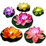 LED Floating Pool Light Waterproof,6pcs MultiColor Pond Light Battery Powered Lily fake Flower,Artificial Flower Night Lamp,F