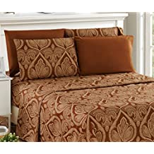 6 Piece: Paisley Printed Bed Sheet Set 1800 Count Egyptian Quality HOTEL LUXURY Flat Sheet,Fitted Sheet with 4 Pillow Cases,Deep Pockets, Soft Extremely Durable by Lux Decor (King, Chocolate)