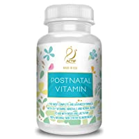 Actif Organic Postnatal Vitamin with 25+ Organic Vitamins and Organic Herbs, Nursing and Lactation Supplement, Non-GMO, Made in USA, 90 Count