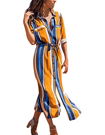 0e3737ccf96 Women Multicolor Striped Buttons Lapel Half Sleeve Long Dress Casual  Cocktail Club Party Robe Dresses Beach