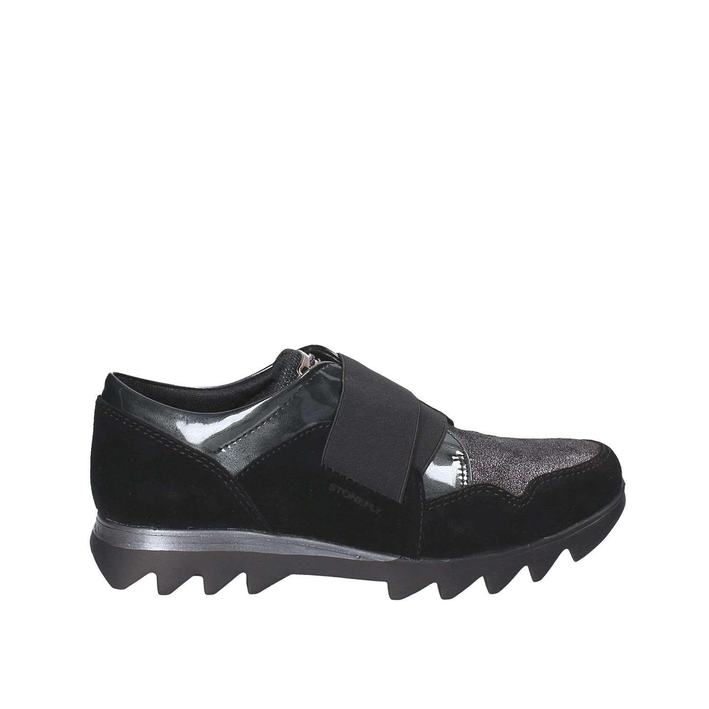 STONEFLY 109440 zapatos negros rápida de la señora de la piel elástica Mujer Slip 38 EU Nero