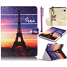 iPad Air 2 iPad 6 Case, Sunroyal Eiffel Tower Pattern Premium Leather Slim Fit Standing Protective ID & Credit Card Slots Magnetic Wallet Pouch Flip Stand Cover Case + Stylus Pen+Diamond Anti Dust Plug