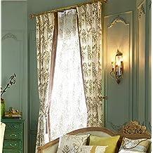 "IYUEGOU Antique Print Cotton Multi Floral Energy Saving Grommet Top Curtain Draps 72"" W x 96"" L (One Panel)"