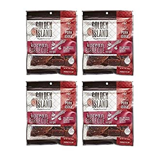 Golden Island Natural Style Pork Jerky, Korean Barbecue Recipe, 14.5oz (Pack of 4)